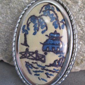 BLUE WILLOW Embroidered Brooch Oval Statement Pin